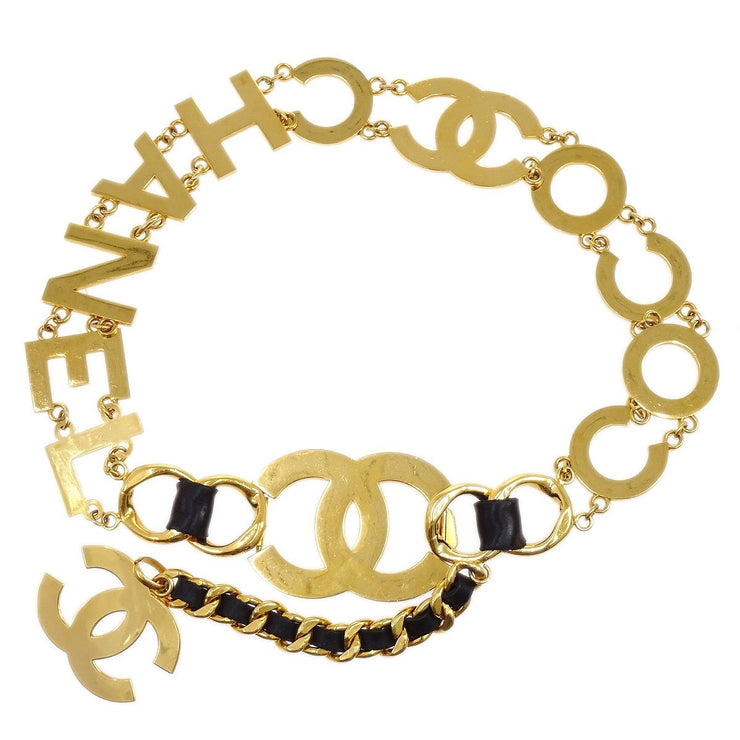 CHANEL Jumbo CC COCO Gold Chain Belt Black Leather 29