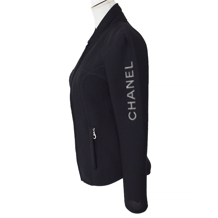 CHANEL 03P #38 CC Sports Line Zip-up Jacket Black