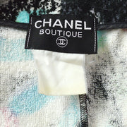 CHANEL Floral Pattern One Piece Dress Black