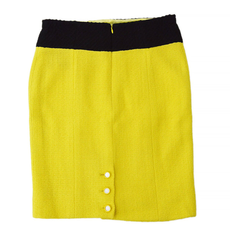 CHANEL Above The Knee Skirt Yellow