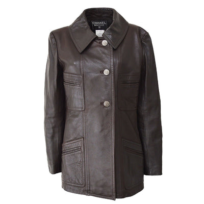 CHANEL 97A #34 Single Breasted Jacket Dark Brown