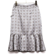 CHANEL CC PRINT SKIRT GRAY #34 01A