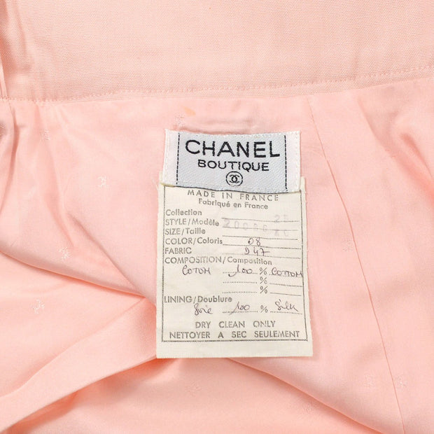 CHANEL Setup Suits No-collar Jacket Skirt Pink #46