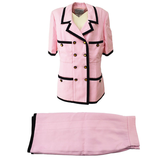 CHANEL Setup Suits Jacket Skirt Pink Black 25 #44