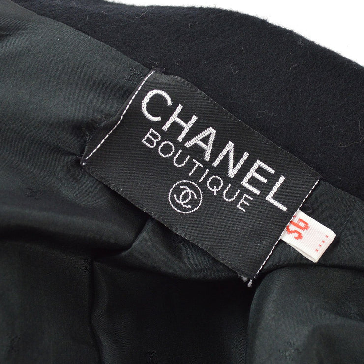 RARE!! CHANEL Emblem Long Sleeve Double Jacket Black #36