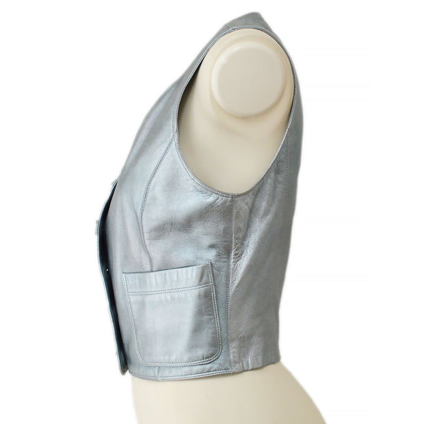 CHANEL Sleeveless Jacket Vest Metallic Silver