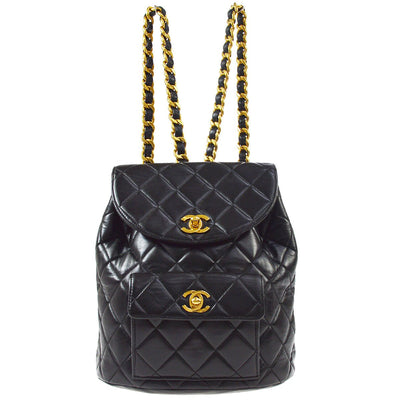 CHANEL Duma Chain Backpack Bag Black
