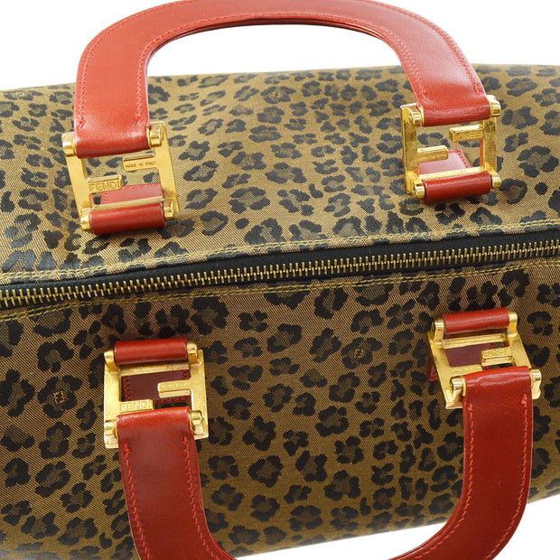 FENDI Leopard Pattern Boston Hand Bag Brown