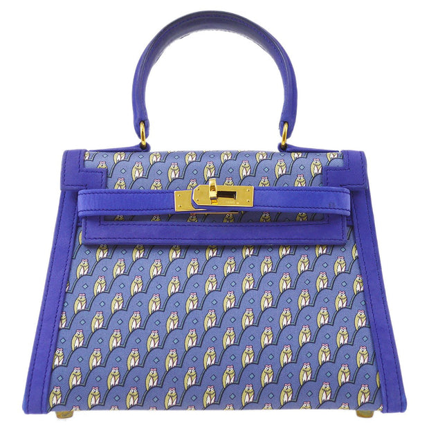 ULTRA RARE!! HERMES MINI KELLY 20 Hand Bag Chouette Silk Nubuck Blue