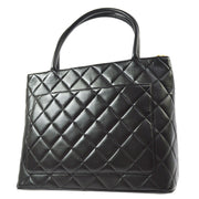 CHANEL Medallion Hand Tote Bag Black