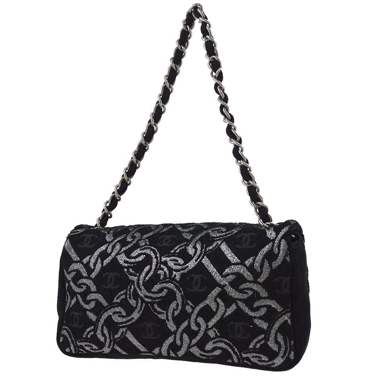 CHANEL Chain Design Single Chain Shoulder Bag Black Tweed