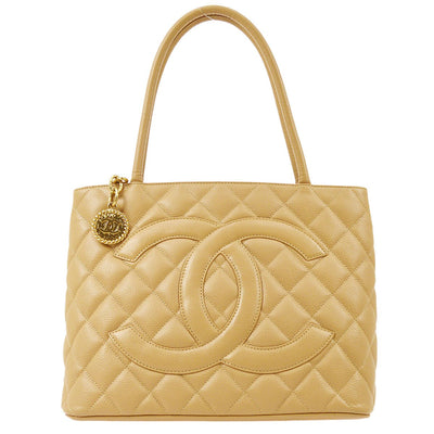 CHANEL Medallion Hand Tote Bag Beige Caviar