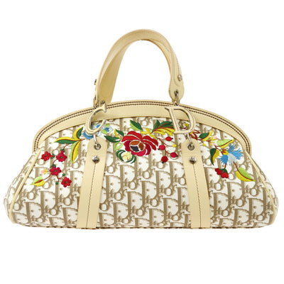 Christian Dior Trotter Flower Embroidery Hand Bag White