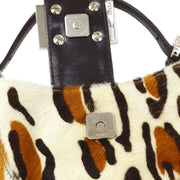 FENDI Mini Hand Bag White Brown Fur