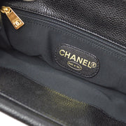 CHANEL Plastic Handle Hand Bag Black Caviar Skin