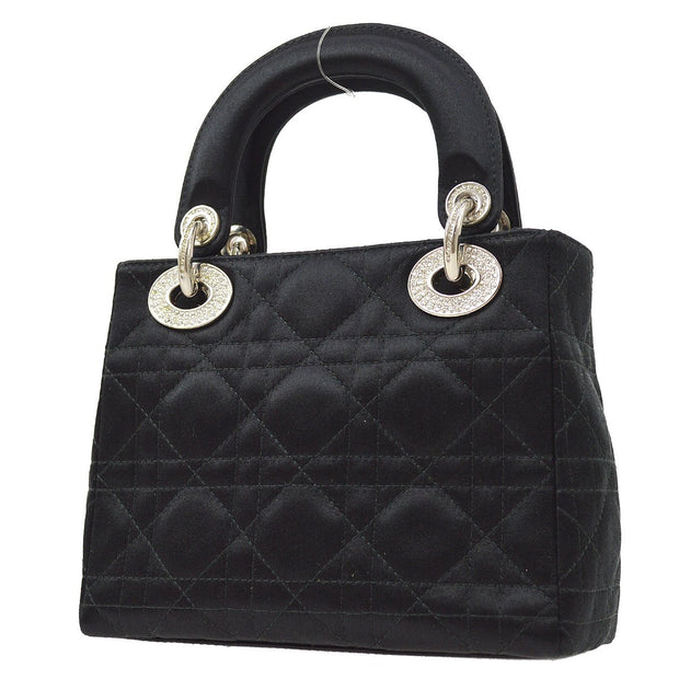 Christian Dior Lady Dior Rhinestone Mini Hand Bag Satin Black