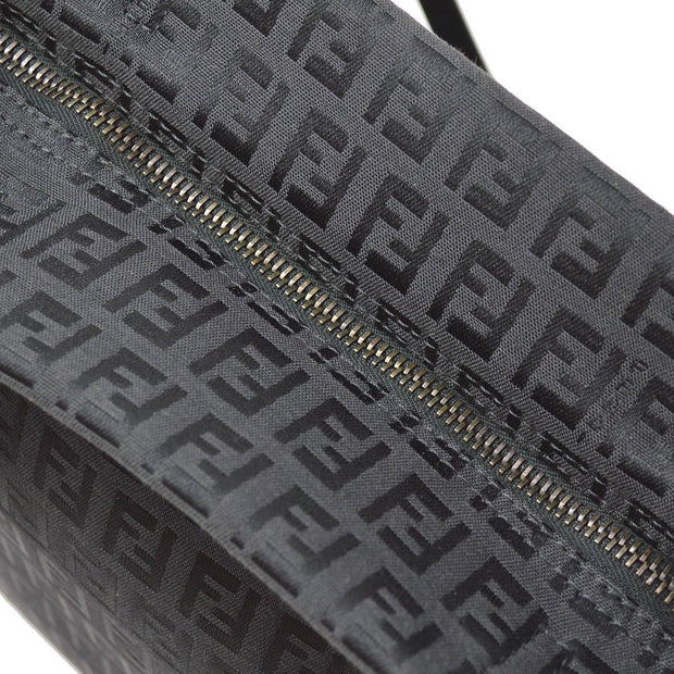 FENDI Zucchino Pattern Shoulder Tote Bag Black