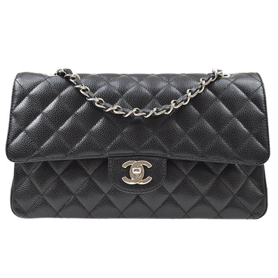 CHANEL Classic Double Flap Medium Chain Shoulder Bag Black Caviar