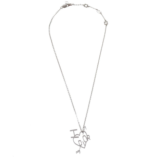Christian Dior Heart Silver Chain Pendant Necklace