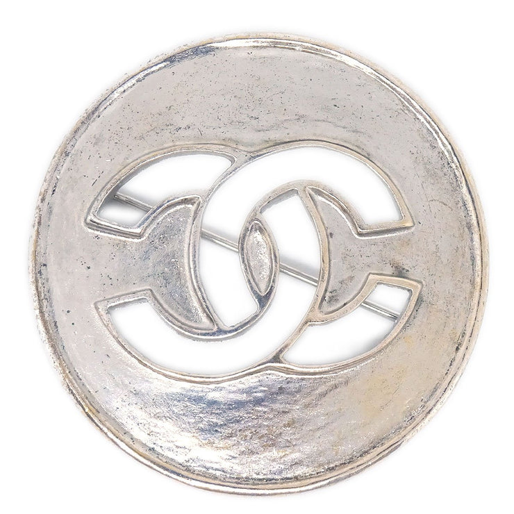 CHANEL Medallion Brooch Pin Corsage 96A Silver