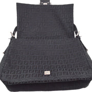 FENDI Zucchino Mamma Baguette Shoulder Bag Black