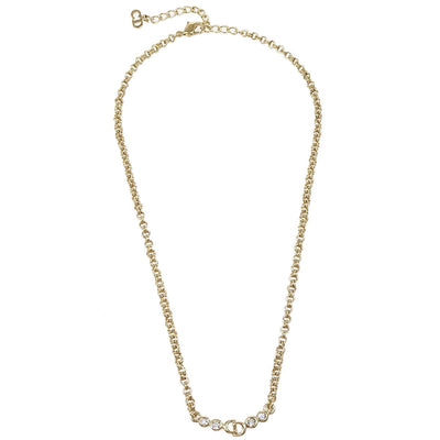 Christian Rhinestone Necklace Gold Chain