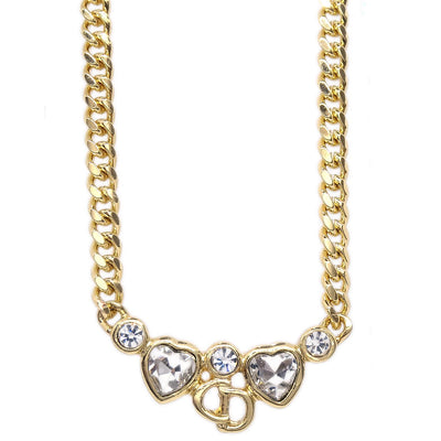 Christian Dior Rhinestone Necklace Gold Chain