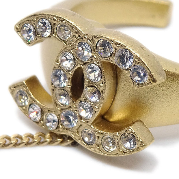 CHANEL Rhinestone Bangle Chain Ring #6 Gold 01C