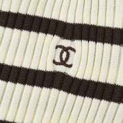 CHANEL 98P #44 Striped Short Sleeve T-shirt Brown Ivory