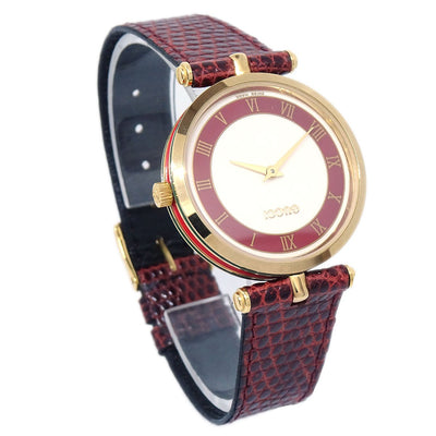 GUCCI Shelly Line Quartz Watch Lizard Bordeaux Gold