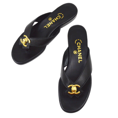 CHANEL Turnlock Shoes Sandals Black #37 1/2