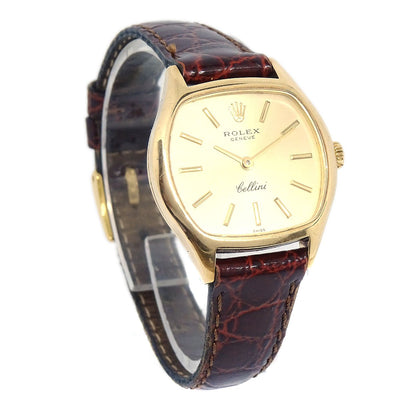 ROLEX OF GENEVA Cellini Wristwatch Watch Gold Leather Band Ref.3801