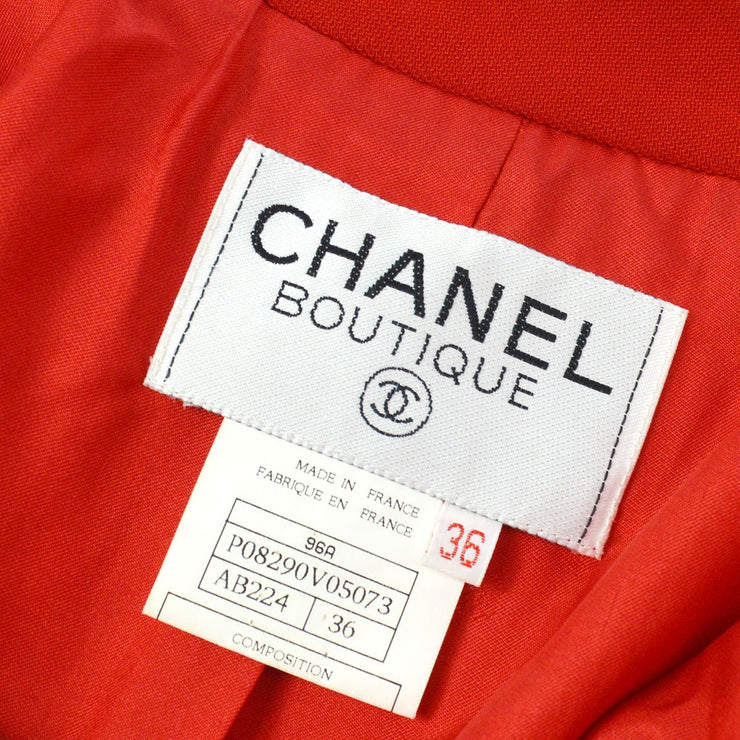 CHANEL 96A #36 Single Breasted Jacket Red