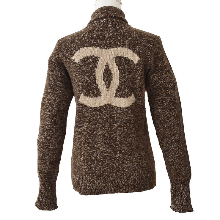 CHANEL 96A #42 High Neck Sweater Brown