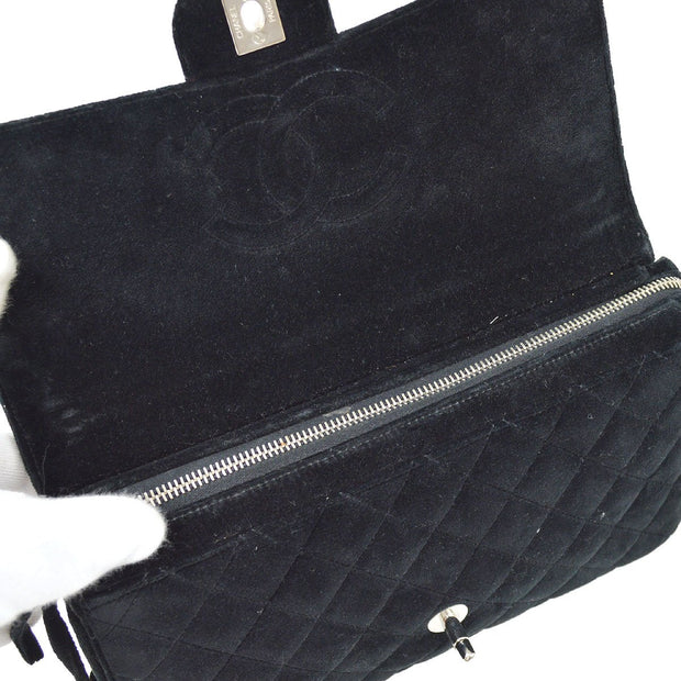 CHANEL Quilted Chain Backpack Bag Black Velvet