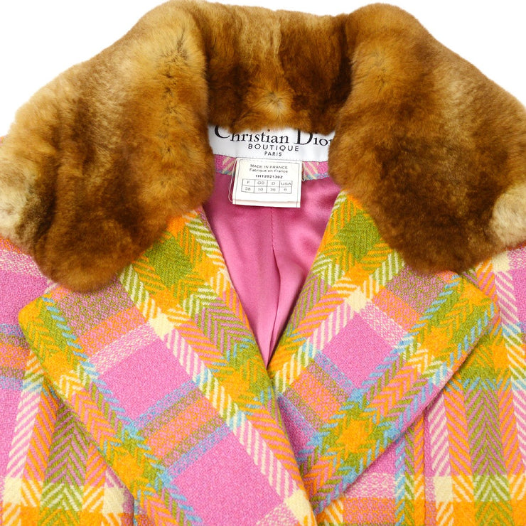 Christian Dior Double Breasted Tweed Jacket Pink