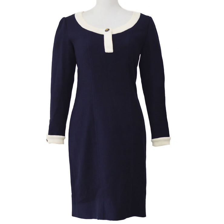 CHANEL 61 #38 Long Sleeve One Piece Dress Navy
