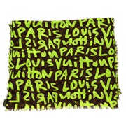 LOUIS VUITTON PAREO SHAWL STOLE BROWN GREEN MONOGRAM GRAFFITI M72387