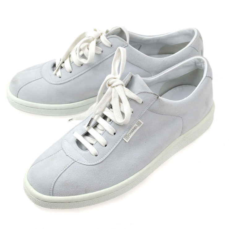 CHANEL Sports Line Sneakers Shoes Gray White Suede #37 1/2