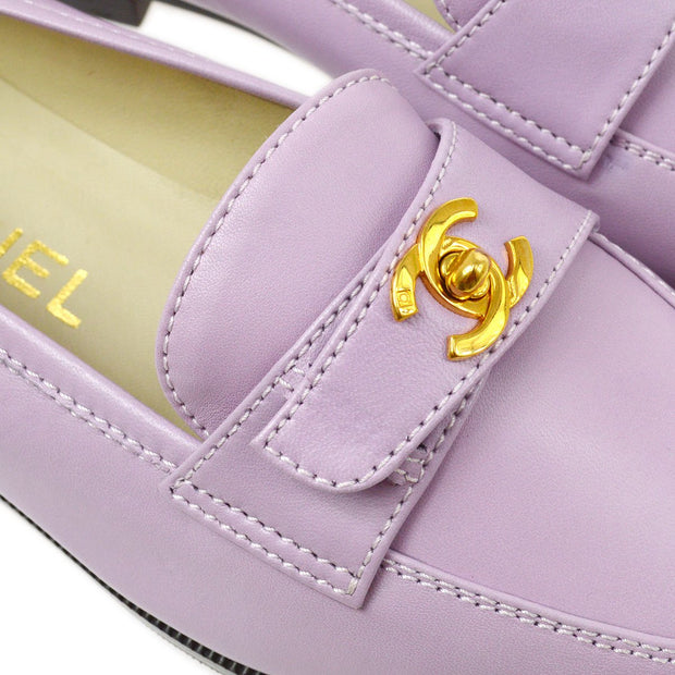 CHANEL Turnlock Loafers Shoes Purple 37 1/2