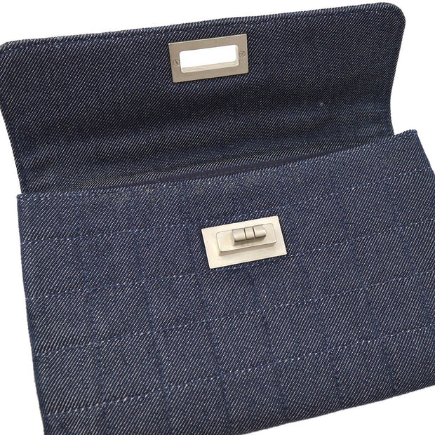 CHANEL 2.55 Line Choco Bar Clutch Hand Bag Indigo Denim