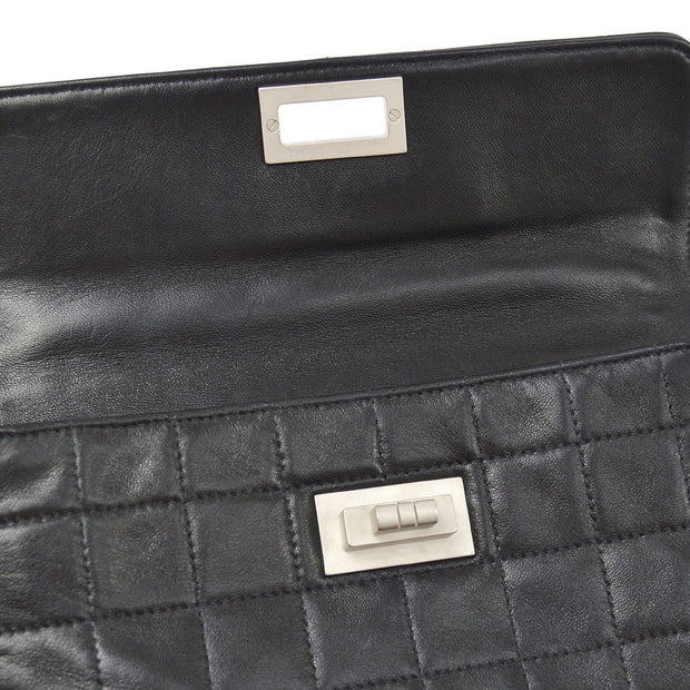 CHANEL 2.55 Line Choco Bar Clutch Hand Bag Black