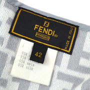 FENDI #42 Zucca Pattern Tops Cardigan Gray White