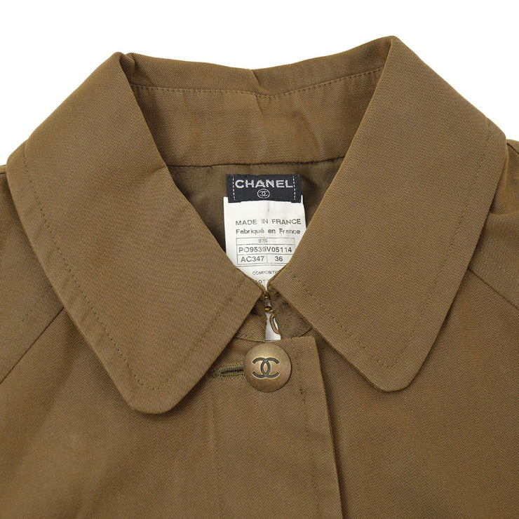 CHANEL 97A #36 Single Breasted Coat Jacket Brown