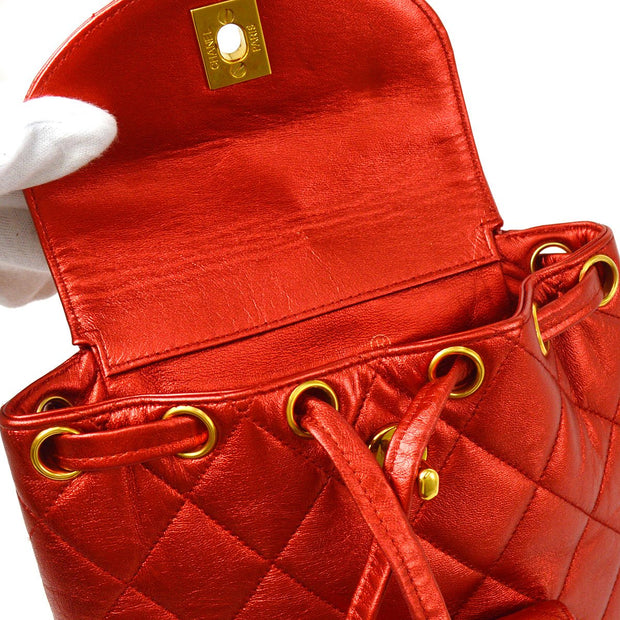 CHANEL Duma Chain Mini Backpack Bag Metallic Red from 1994