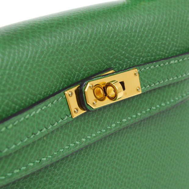 HERMES MINI MINI KELLY 15 2way Hand Bag Green Veau Greine Couchevel