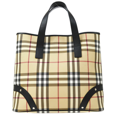 BURBERRY Check Pattern Tote Hand Bag Beige
