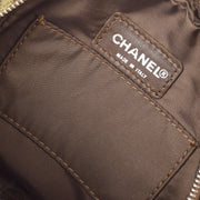 CHANEL Travel Line Cosmetic Pouch Bag Khaki Brown