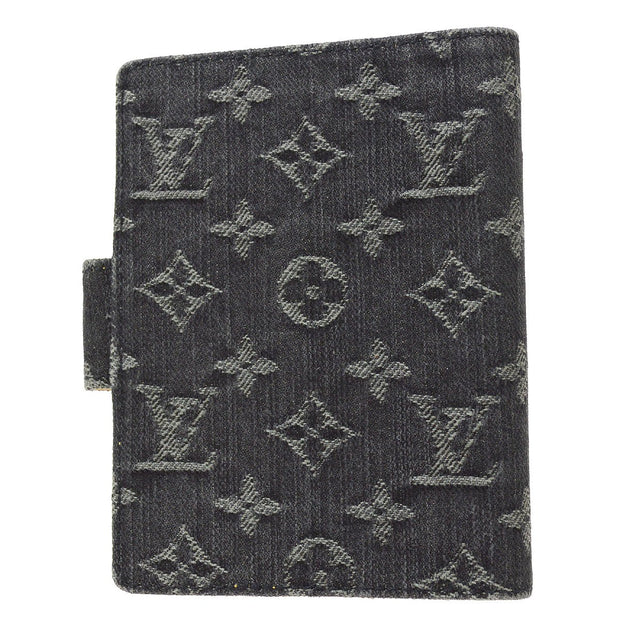 LOUIS VUITTON AGENDA PM NOTEBOOK COVER MONOGRAM DENIM BLACK R21038