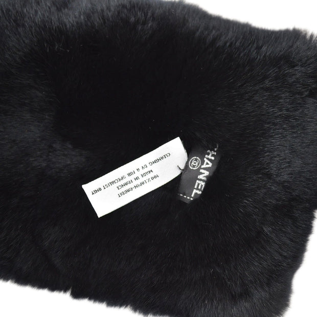 CHANEL Lapin Rabbit Fur Bangle Wristband Shawl Set Black
